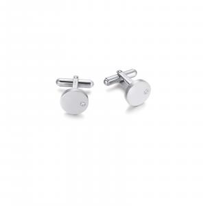 Luca Barra - Gemelli in acciaio con cristalli bianchi