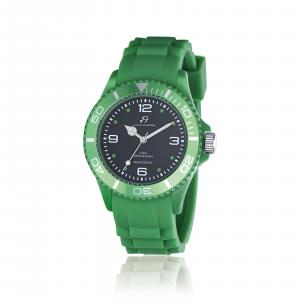 Luca Barra - Orologio in silicone verde quadrante nero ghiera verde