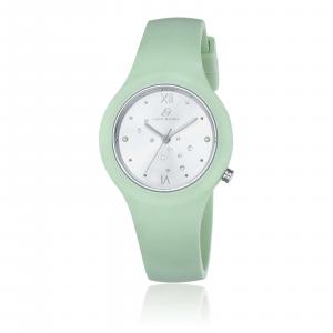 Luca Barra - Orologio in silicone verde quadrante silver e cristalli