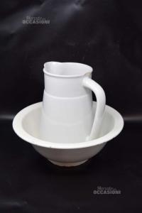 Brocca E Catino In Ceramica Difettati Colore Bianco