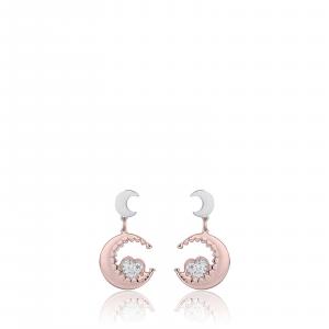 Luca Barra - Orecchini in acciaio con lune rosè e cuori con cristalli