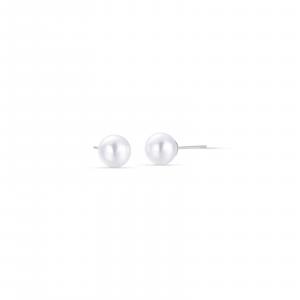 Luca Barra - Orecchini in acciaio con perla da 6 mm