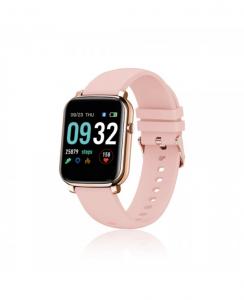 David Lian - Smartwatch con cinturino silicone rosa e cassa rosa