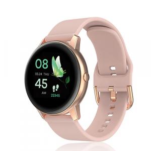 David Lian - Smartwatch con cinturino in silicone rosa e cassa acciaio rosè