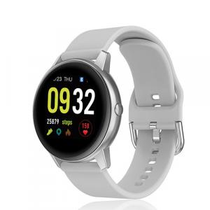 David Lian - Smartwatch con cinturino in silicone grigio e cassa acciaio