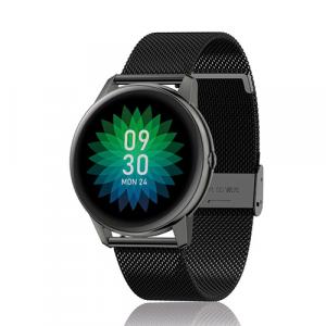 David Lian - Smartwatch con cinturino in acciaio nero e cassa acciaio nero