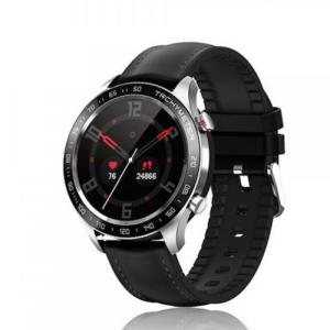 David Lian - Smartwatch con cinturino in similpelle nero e cassa acciaio