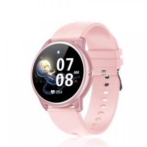David Lian - Smartwatch con cinturino in silicone rosa e cassa rosa