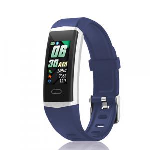 David Lian - Smartwatch con cinturino in silicone blu e cassa acciaio