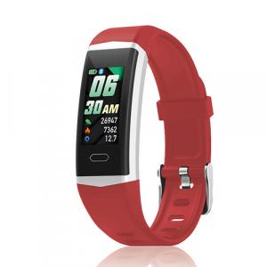 David Lian - Smartwatch con cinturino in silicone rosso e cassa acciaio