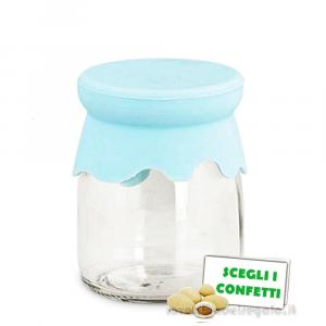 Barattolo portaconfetti in vetro con coperchio Celeste in silicone 5.5x7.5 cm - Contenitori battesimo bimbo