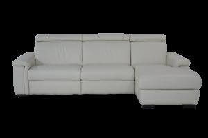 FRANCE - Piccolo divano con penisola destra in pelle a 3 posti di cui uno relax con movimento recliner elettrico, poggiatesta regolabili