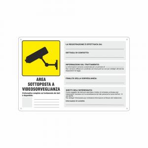 Cartello area sottoposta a videosorveglianza