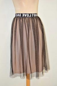 Skirt Woman Black Beige Written Love Size.u