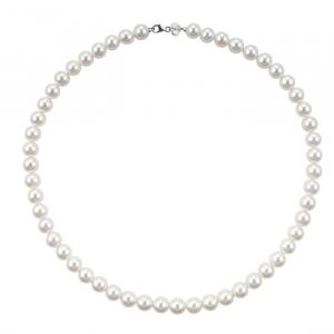 Collana Bliss con perle 6/6,5mm in oro bianco 18 Kt 20067233