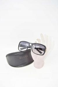 Occhiali Da Sole Donna Gucci Neri Gg2575/sd28lf 61/12 125 Con Custodia, Made In Italy