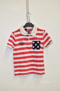 Polo Boy Tommy Hilfiger 8a Gray Red Striped