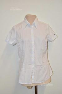 Shirt Woman Tommy Hilfiger Size.10 White Blue Striped