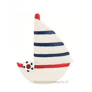 Magnete Barca a vela a righe blu e rosse 6 cm - Bomboniera matrimonio