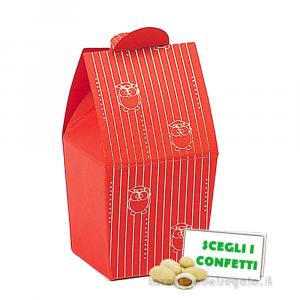Portaconfetti bustina rosso con gufi dorati 3.3x3.3x7.5 cm - Scatole bomboniera laurea