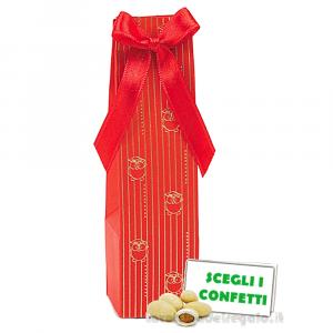 Portaconfetti tubo rosso con gufi dorati 4.8x4.8x14.5 cm - Scatole bomboniera laurea