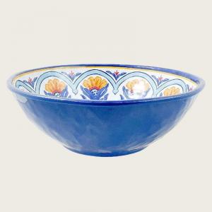 Insalatiera In Melamina Colore Blu Diametro 36 cm Decorata Ciotola Da Utilizzare In Casa Cucina