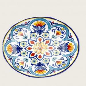 Vassoio Ovale 40 cm In Melamina Colorato Blu Con Decorazione Ideale In Cucina Casa Collezione