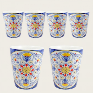 Confezione Set di 6 Bicchieri Da Acqua In Porcellana Decorato Capri Blu Casa Cucina