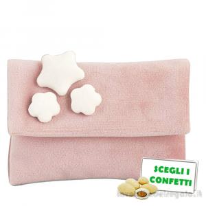 Portaconfetti bustina Rosa con Stelle in vellutino 9.5x7.5 cm - Sacchetti battesimo bimba