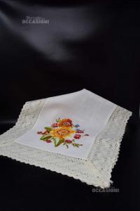 Doily Runner Hand Embroided Flowers 90x45 Cm