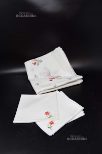 Tea Placemat Square 80x80 Cm Hand Embroidered + 4 Napkins