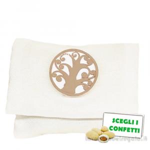 Portaconfetti bustina Bianca con Albero della Vita 10x8 cm - Sacchetti comunione e matrimonio