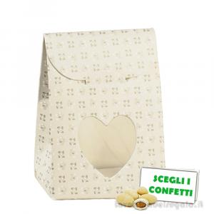 Portaconfetti bustina Tortora linea Bloom 6x3.5x8 cm - Scatole comunione e matrimonio