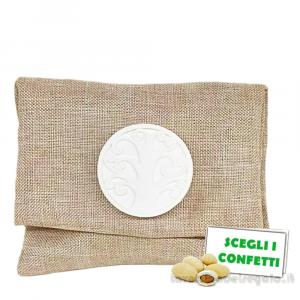 Portaconfetti bustina Tortora con Albero della Vita 10x8 cm - Sacchetti comunione e matrimonio