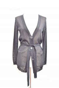 Cardigan Woman Sisley Black Limited Edition With Belt Size.s