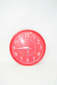 Wall Clock Red Plastic Home 25cm