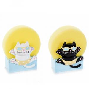 Porta spugna a gatto in resina colorata con spugna gialla