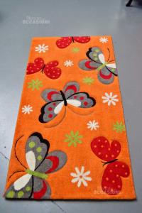 Carpet Orange Diamond 80x150 Cm Butterflies