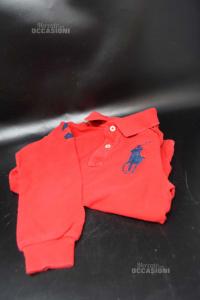 Polo Bambino Ralph Lauren 5a Rossa Maniche Lunghe