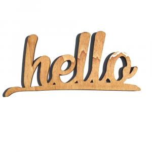 Scritta HELLO da parete in legno di castagno fatta a mano 100% Made in Italy