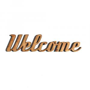 Scritta WELCOME da parete in legno di castagno fatta a mano 100% Made in Italy