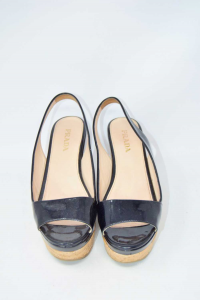 Shoes Wedges Woman Prada Original Color Black Paint N°.37 1 / 2