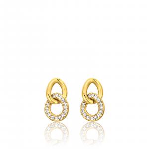Luca Barra - Orecchini in acciaio dorato con cristalli bianchi