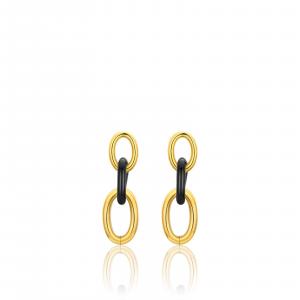 Luca Barra - Orecchini in acciaio dorato e acciaio nero