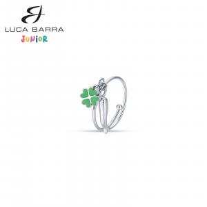 Luca Barra - Anello in acciaio con corno e quadrifoglio verde