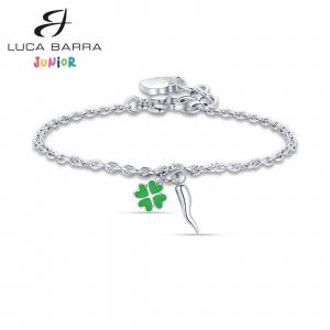 Luca Barra - Bracciale in acciaio con corno e quadrifoglio verde