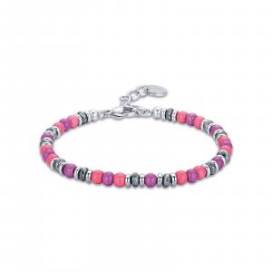 Luca Barra - Bracciale in acciaio con pietre rosa e viola