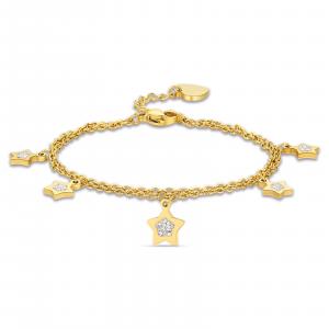 Luca Barra - Bracciale in acciaio dorato con stelle e cristalli bianchi
