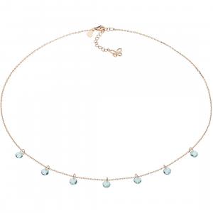 Comete farfalle collana in argento rosè con cristalli azzurri GLA170