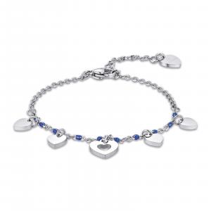 Luca Barra - Bracciale in acciaio con cuori e pietre blu